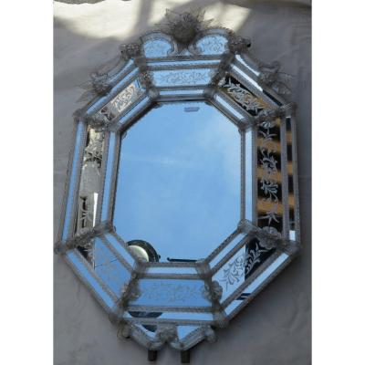 1950 'veronese Octagonal Style Mirror Parecloses With High And Low Crown