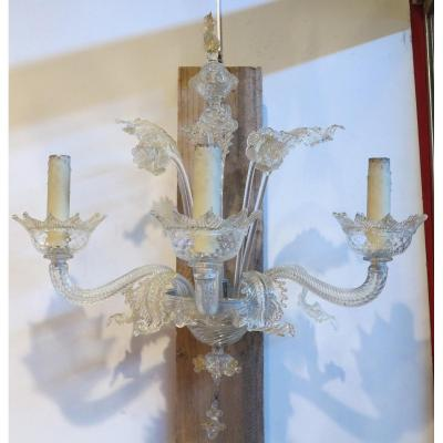 Pair Of Murano Crystal Wall Lights And Gold Leaf Inclusion 3 Arms