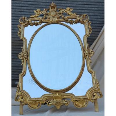Miroir Nap III à Pare-closes Et Médaillon Central Ovale Biseauté, Aux Anges, Doré Feuilles d'Or