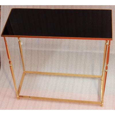 1970 ′ Gilt Bronze Console Black Opaline Tray 70 X 30 Xh 70 Cm
