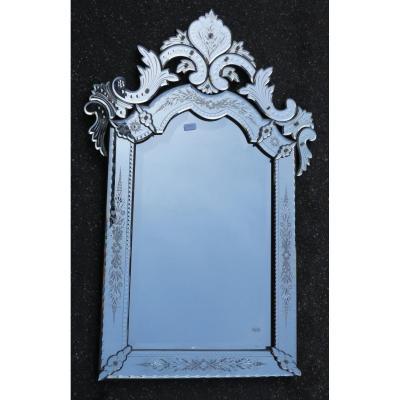 1900 Miroir Vénitien Style Louis XIV 117 X 77 Cm