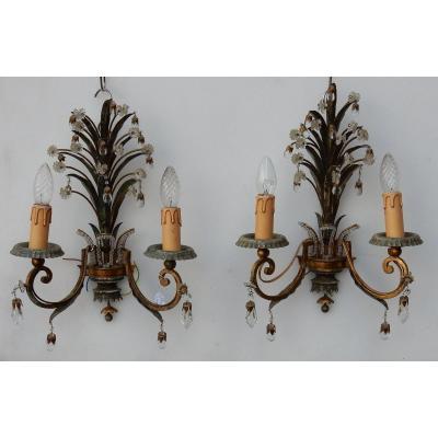 1950/70′ Paire D'appliques Au Feuillage Ananas Style Maison Baguès