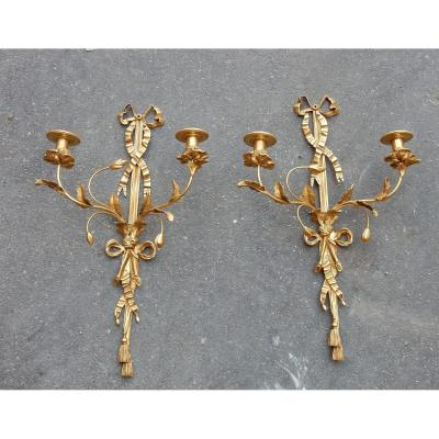 1950 ′ Pair Of Gilt Bronze Wall Lights Lxvi Style