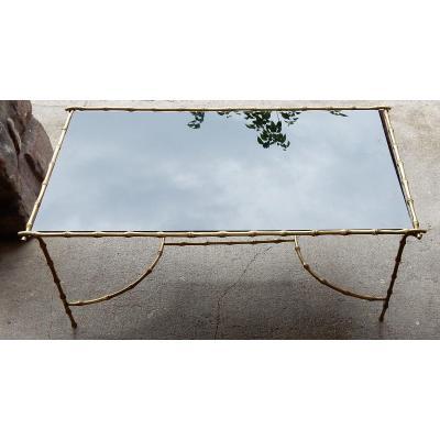 1970′ Table Basse En Bronze Maison Baguès Décor Bambou Avec Plateau Verre Noirci 58 X 104 Cm