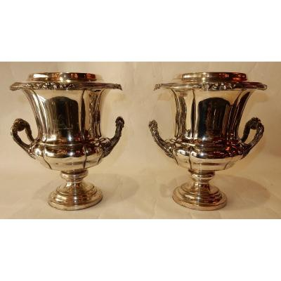 1900 ′ Pair Of Silver Metal Coolers Napoleon Style 3