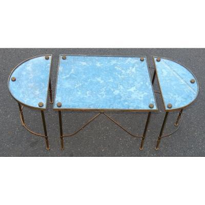 1950-70′ Table Tripartite En Laiton Style Maison Baguès