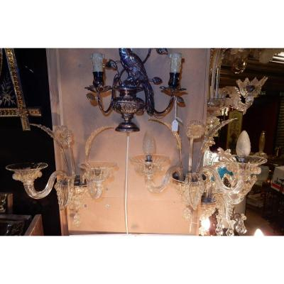 1950 ′ Pair Of Murano Wall Lights 2 Crystal Arms And Gold Paillons