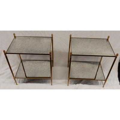 1950/70' Paire De Bouts De Canapé Rectangulaires Maison Baguès Laiton Et Bronze Plateaux Miroir