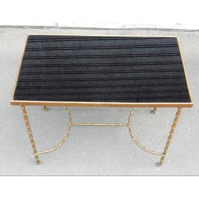1970′ Table Basse à Roulettes Maison Baguès Décor Bambou En Laiton Et Opaline