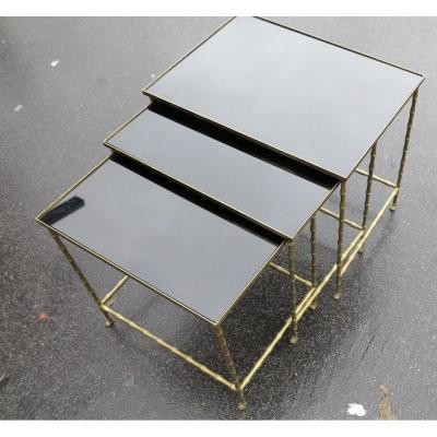 1950/70 Série De 3 Tables Gigognes Modèle Bambou Avec Pieds Maison Baguès