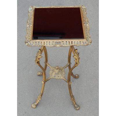 1880/1900' Sellette Style Louis XIV Bronze Et Opaline
