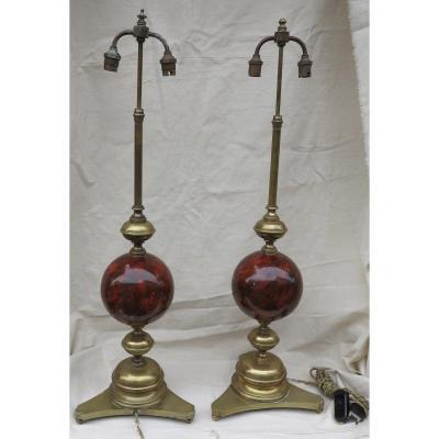 1890′ Paire De Lampes Bronze Et Boules En Fer Peint En Faux Marbre Griotte
