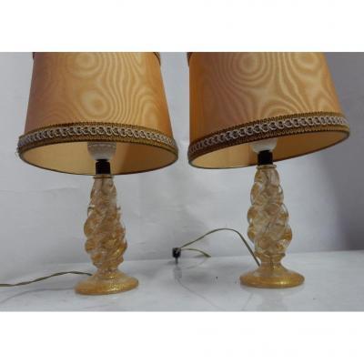 1950/70 Paire De Lampes Barovier & Toso En Cristal De Murano Avec Paillons d'Or Signées