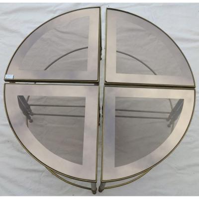 1950/70′ 4 Tables Maison Baguès En Bronze Formant Table Ronde