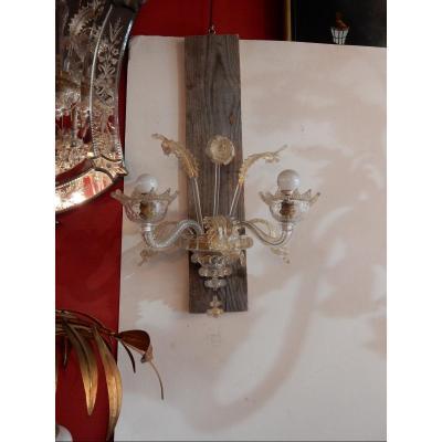 1920/50′ Paire D'appliques à 2 Lumières En Cristal De Murano 33h X 35 Cm