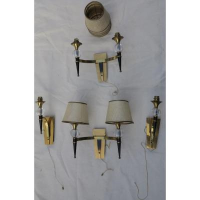 1950/70 ′ 2 Pairs Of Jacques Adnet Style Wall Lights L 37 Xh 30 Cm