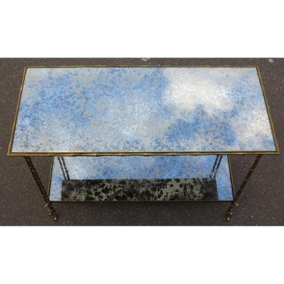 1950/70′ Table Tripartite Bronze Top En Verre Style Maison Baguès