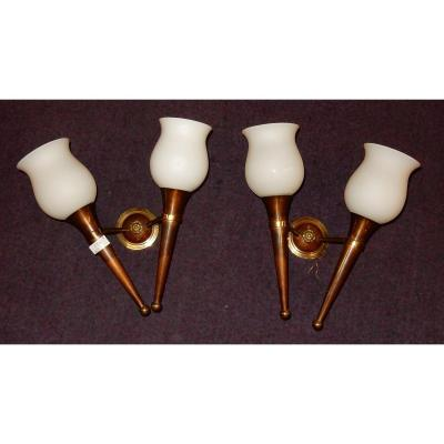 1950 ′ Pair Of Bronze And Brass Sconces Arbus Style Or Maison Jansen 2 Lamps