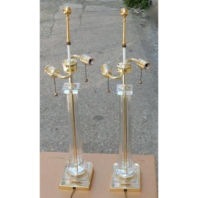 1970/80′ Paire De Lampes En Verre Décor Colonnes