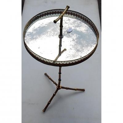 1970′ Serviteur En Bronze Avec Galerie Modèle Bambou Maison Baguès