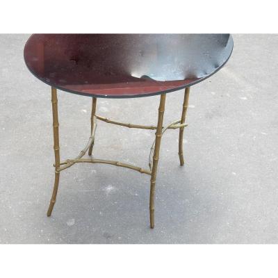 1950/70 Table Basse Plateau Verre Noirci Maison Baguès En Laiton