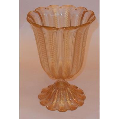 1970′ Vase Cristal Murano Style Barovier & Toso