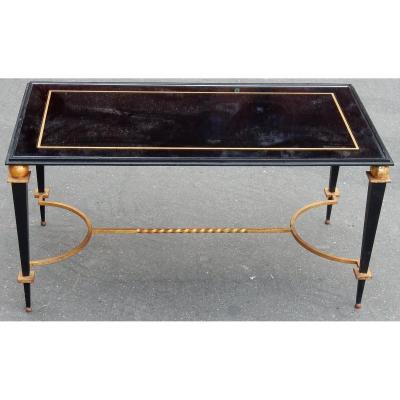 1950′ Table Basse En Fer Peint Et Doré à L'or Style G. Poillerat
