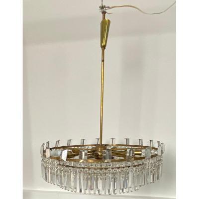 1960′ Lustre Circulaire A 2 Étages Laiton Et Cristal, Bakalowits & SÖhne,diamètre : 70 Cm
