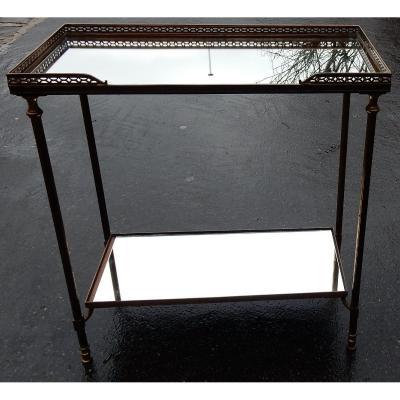 1970' Bout De Canapé Maison Baguès Plateaux Miroirs Avec Galeries Ajourées 50,5 X 25,5 Cm