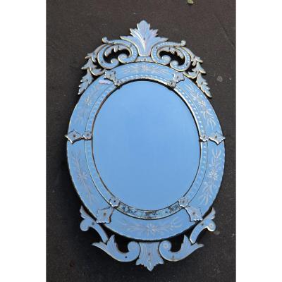 1880' Miroir Venise Ovale Avec Fronton