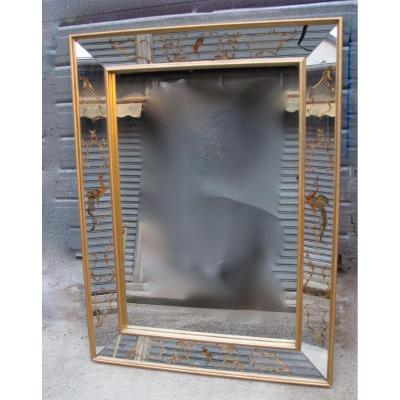 1950/70 ′ Eglomise Mirror With Lyre Birds 100 X 75 X 5,5 Cm