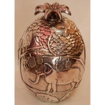 1950/70 Ice Bucket Pineapple Shape Animal Decor Silver Metal