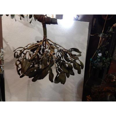 1900 'boule De Mistletoe In Bronze Art Nouveau Chandelier Has 4 Lights Diameter 50 Cm