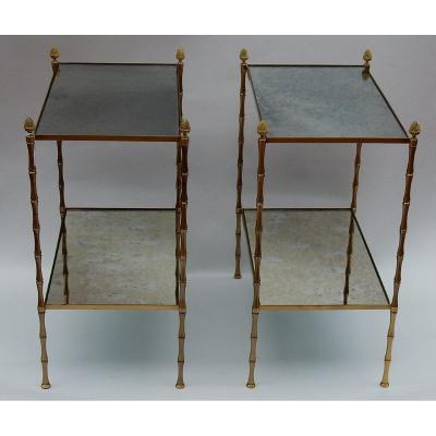 1950/70′ Paire De Bouts De Canapés Bronze Décor Bambou, Style Maison Baguès 58 X 34 Cm