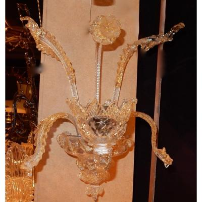 1950 ′ Pair Of Wall Lights 1 Arm Murano Crystal And Gold Paillons