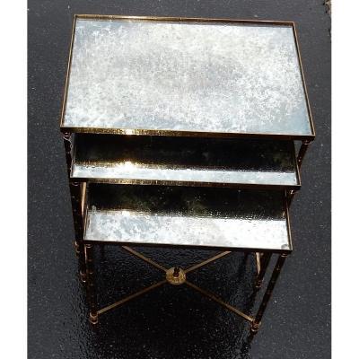 1950/70 Série De 3 Tables Gigognes Modèle Bambou Maison Baguès