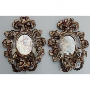 1950 ′ Pair Of Italian Renaissance Style Wall Lights In Silver Wood