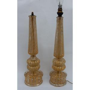 1950/70 Paire De Lampes Barovier & Toso Avec Paillons D'or Fût Conique