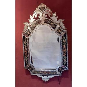 1880/1900 ′ N3 Venice Rectangular Mirror, Blue Glass Frame Decorated With Enameled Flowers Dlg Lxiv