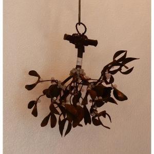 1900' Lustre Boule De Gui En Bronze Art Nouveau A 2 Lampes Diametre 34 Cm