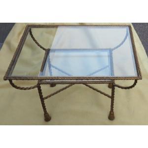 1970′ Table Basse Décor Corde Tressée
