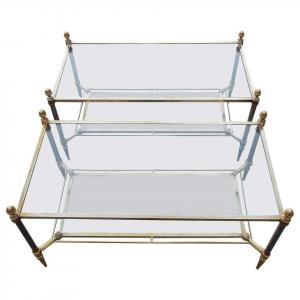 1950/70 ′ Pair Of Maison Jansen Glass Coffee Tables - 93 X 48 Xh 49 Cm