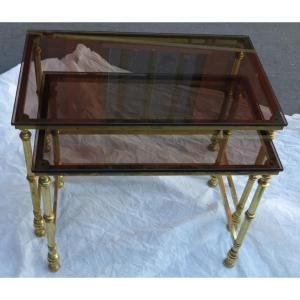 1970 ′ Series Of 2 Golden Metal Nesting Tables