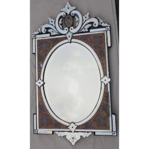 1880/1900 Miroir Napoléon III Émaillé Sur Cartouches Colorées
