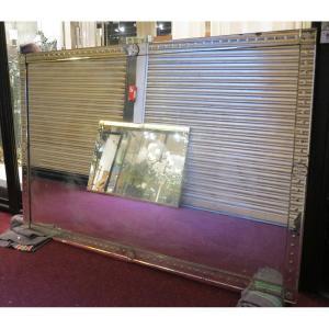 1900′ Miroir Vénitien à Bulles 254 X 173 Cm Cabochons Carrés Et Ronds
