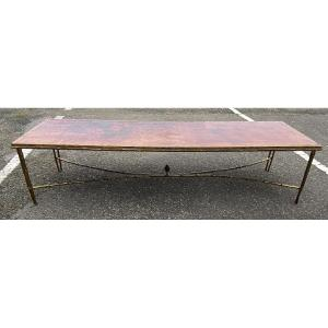 1970 'coffee Table Double Bronze Base Bamboo Model Maison Baguès Chinese Lacquer 168 X 55x H 38 Cm