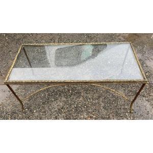 1970 ′ Maison Baguès Bronze Coffee Table, Double Arc De Cercle Spacer 106x50xh42 Cm
