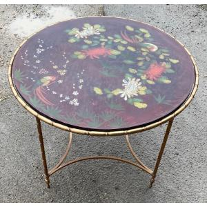 1950/70 ′ Round Bronze Coffee Table Palm Tree Decor Tray Red Chinese Lacquer Dlg Maison Baguès