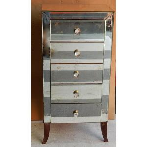 1940/50 ′ Art Deco Vintage Mirror Cabinet 5 Drawers 6 Glass Handles 50 X 39 Cm