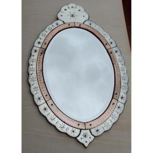 1950/70 'oval Venetian Mirror 2 Colors 112 X 72 Cm